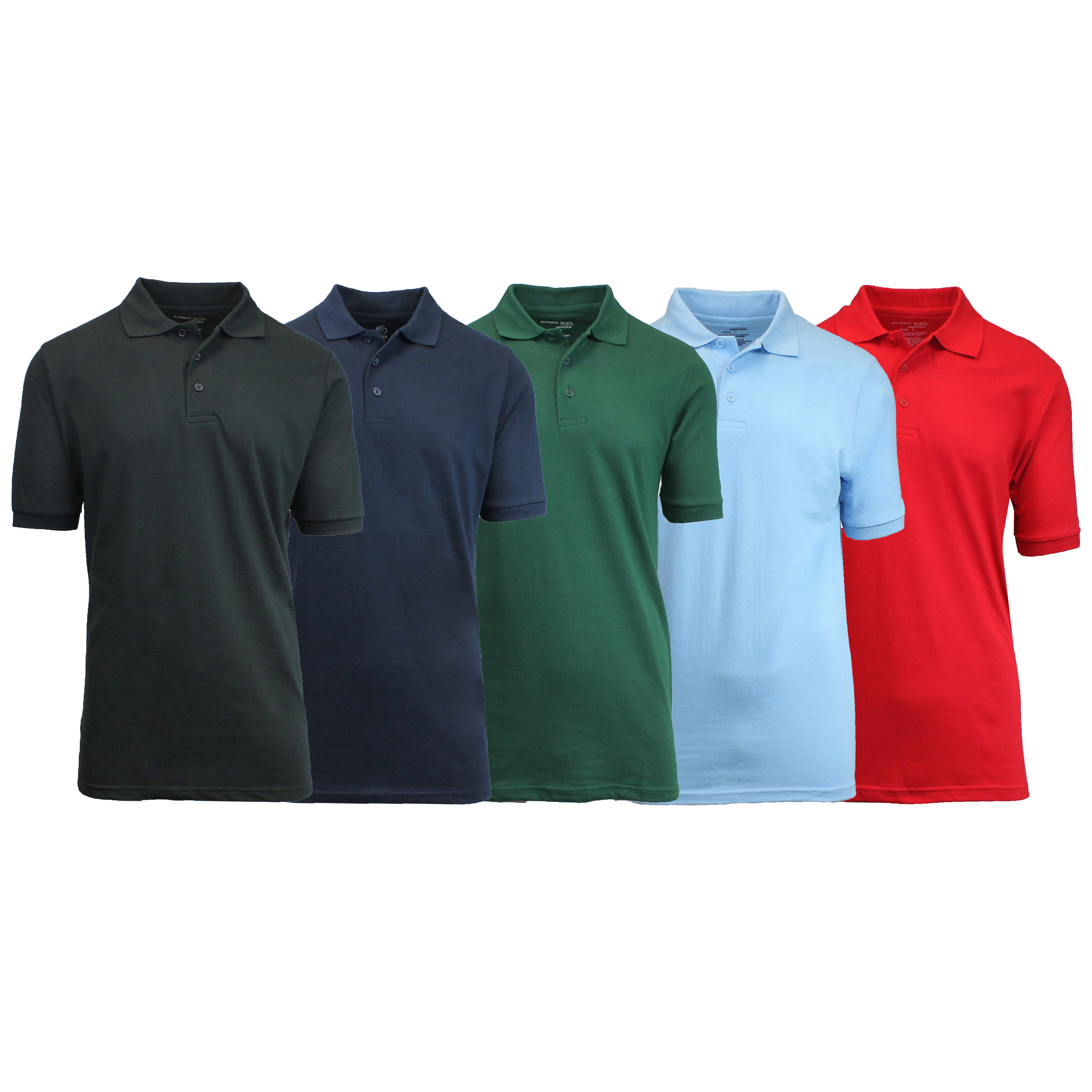 5 Pack Mens Uniform Pique Polo Shirts S 2x Tanga