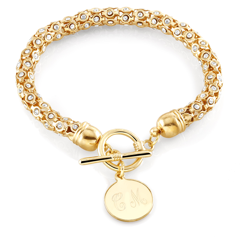 Personalized Round Disc Toggle Bracelet with Free Gift!