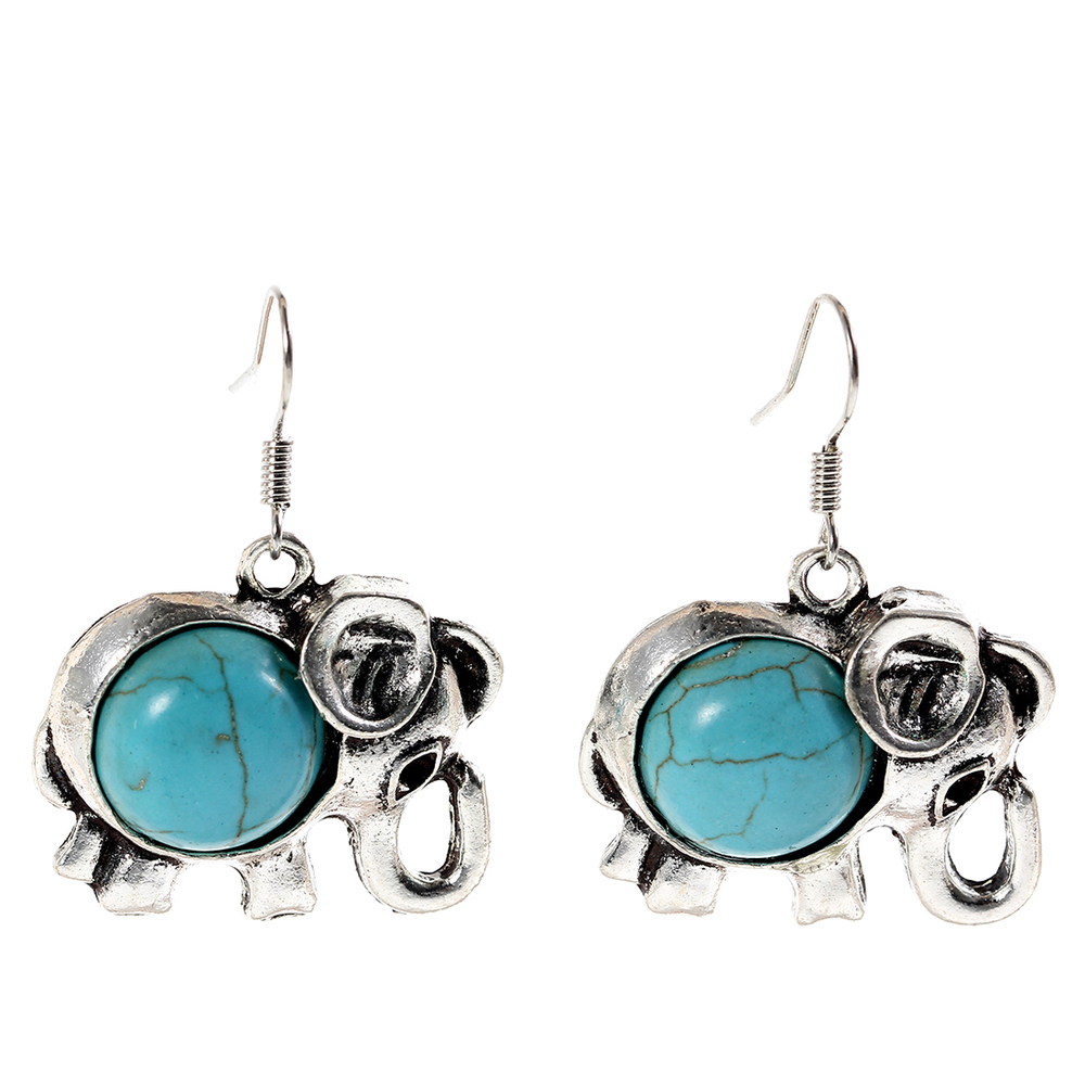 Lucky Elephant Turquoise Cabochon Earrings