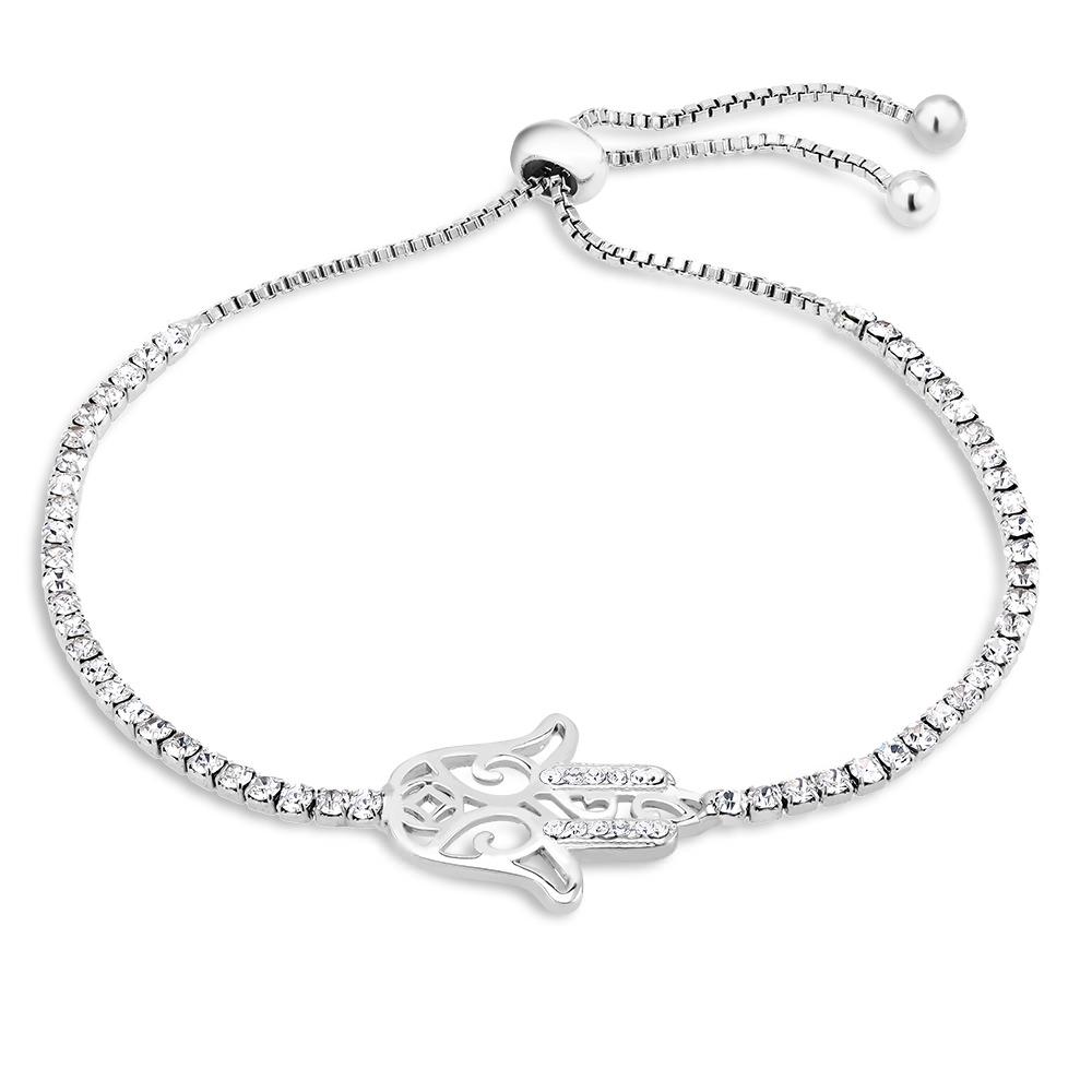 Cubic Zirconia Hamsa Charm Bracelet