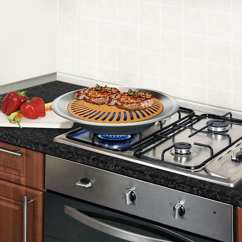 Gotham Steel Indoor Stove Top Grill Non Stick Copper