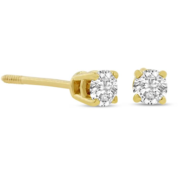Certified 1 4ct Natural Genuine Diamond Stud Earrings In 14 Karat Yell