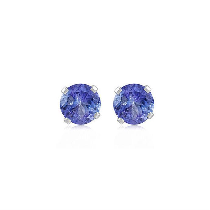 Sterling Silver 1.20cttw Genuine Tanzanite Round Stud Earrings