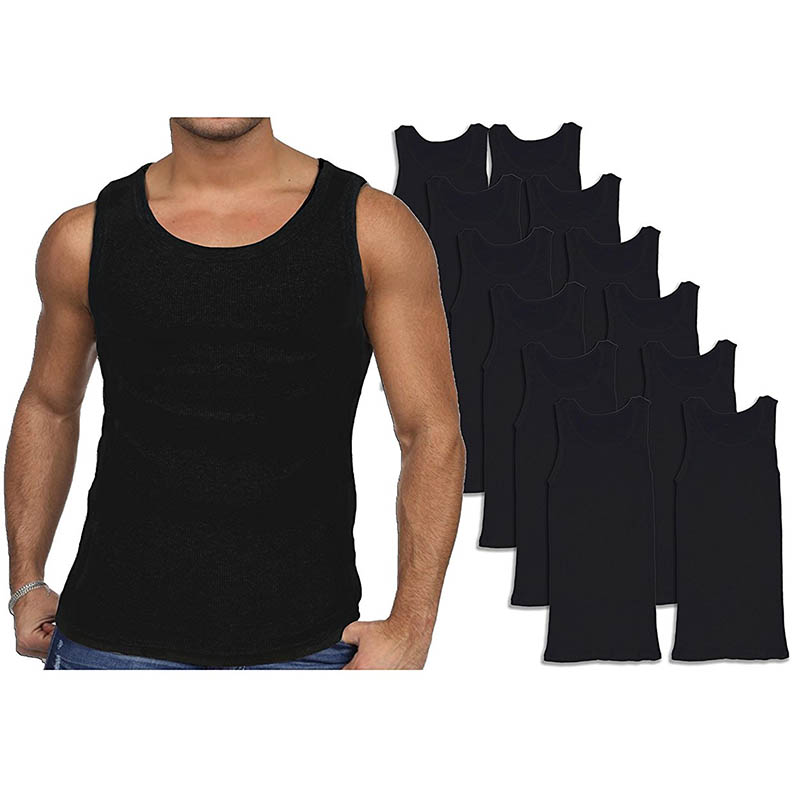 12-Pack Men s Andrew Scott Combed Cotton Black Tank Tops