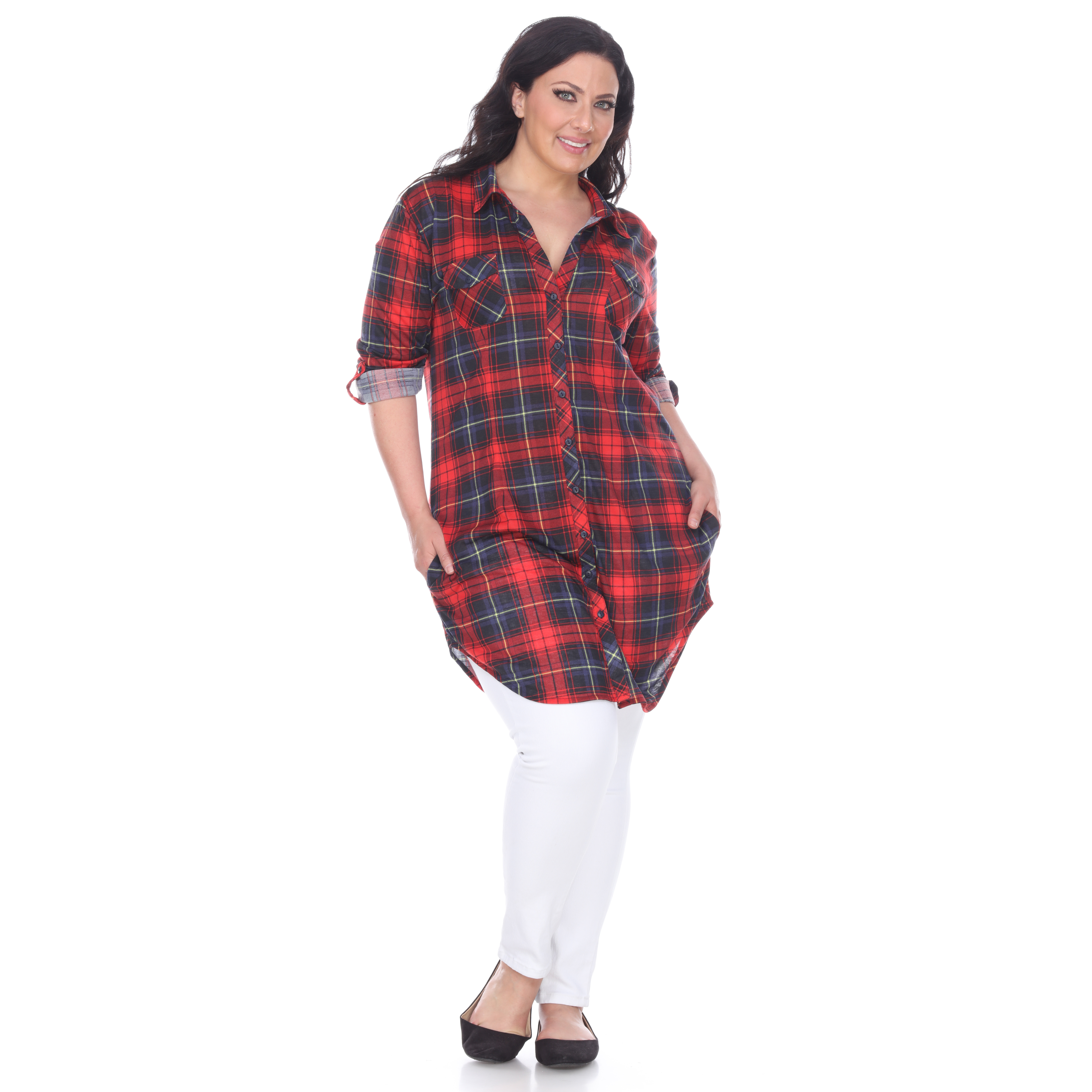 Women s Plus Size Piper Plaid Tunic with Pockets - 6 Colors