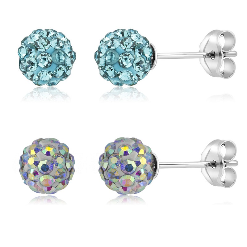 2-Pack Crystal Round Ball Stud Earrings