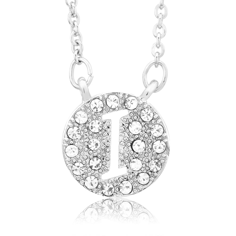 18kt White Gold Plated Swarovski Elements Initial Necklace - I