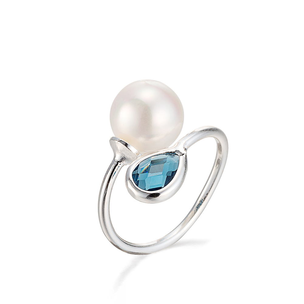 White Gold Plated Petite Sapphire  amp  Pearl Ring