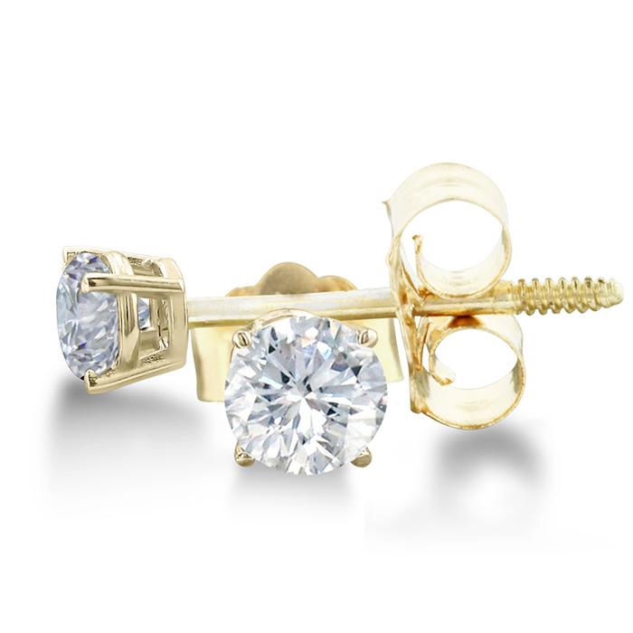 Certified 1 3ct Natural Genuine Diamond Stud Earrings In 14 Karat Yell
