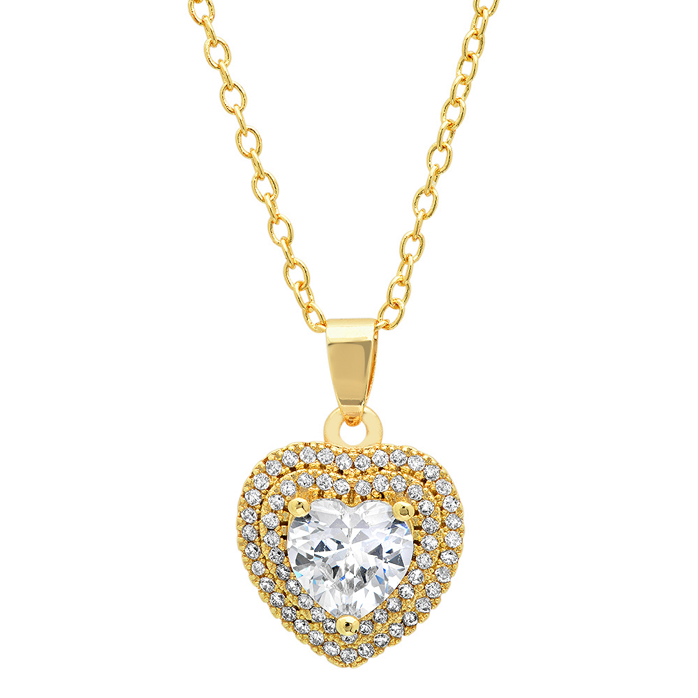 Gold Plated 1.87 ctw Brass Heart Pendant With CZ - Choose Color