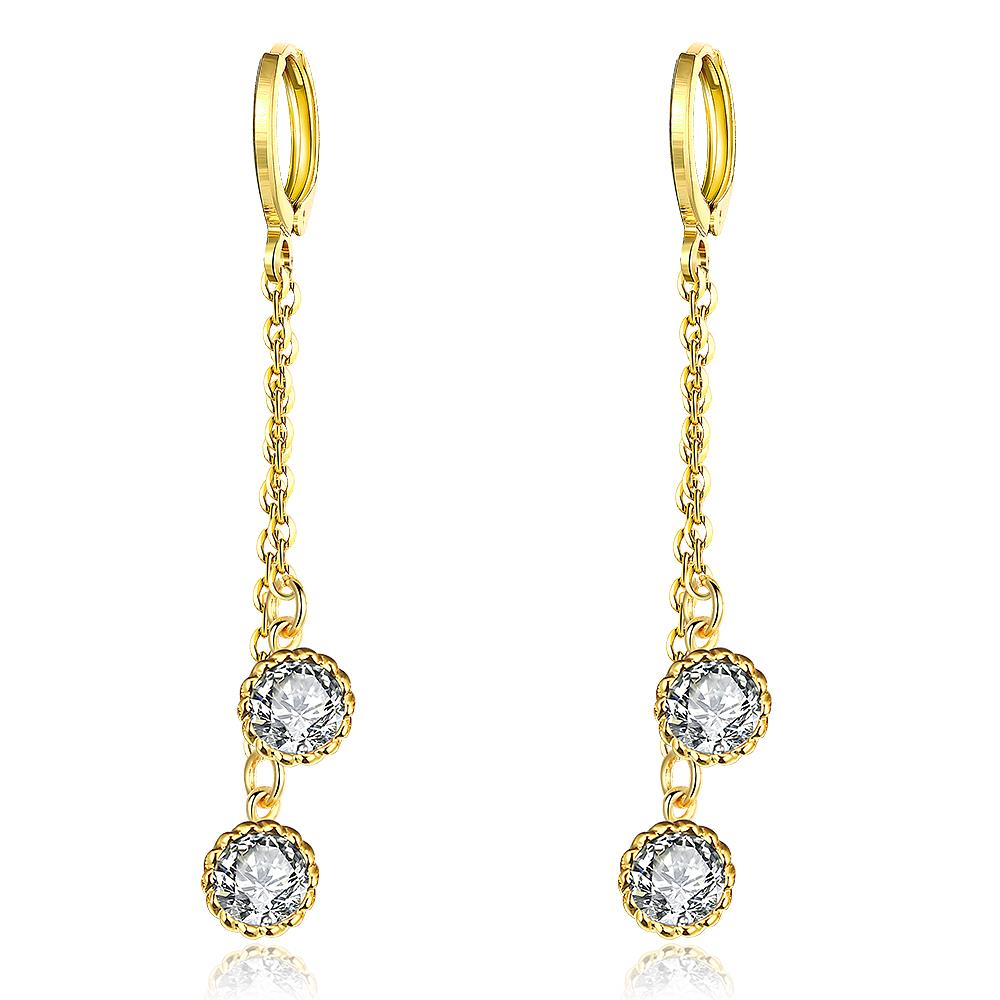 Gold Plated Duo Jewel Dangling Earrings