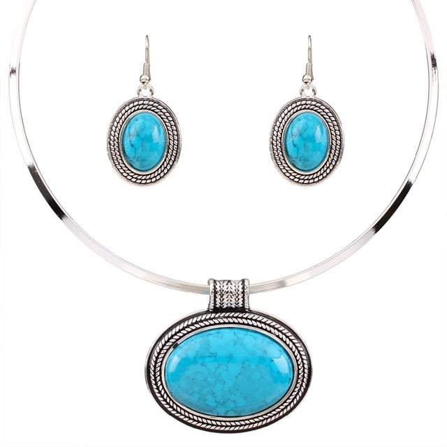 Oval Turquoise Collar Setting Necklace Set 56f9077c838e