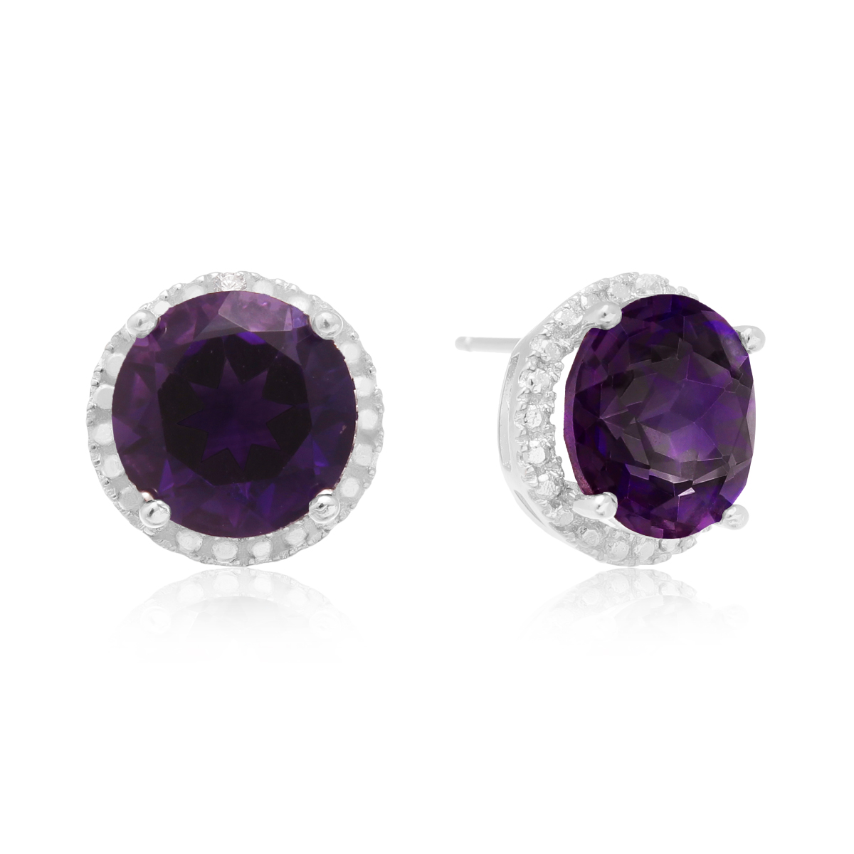7 Ct Amethyst Halo Stud Earrings In Sterling Silver