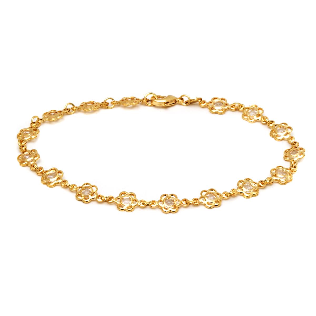 Gold Flower Gem Anklet