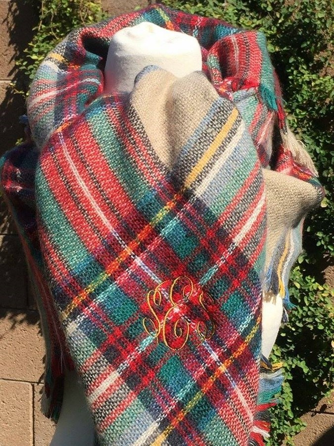 red  beige  u0026 green personalized blanket scarf
