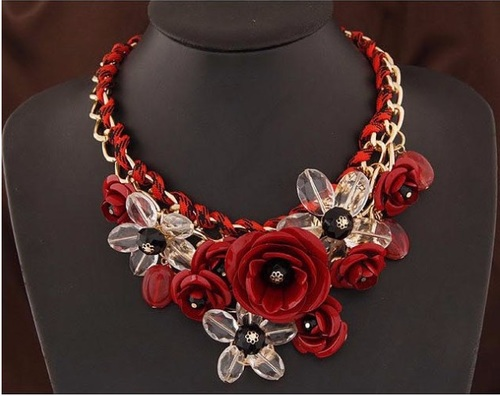 Vivid Magical Floral Statement Necklace