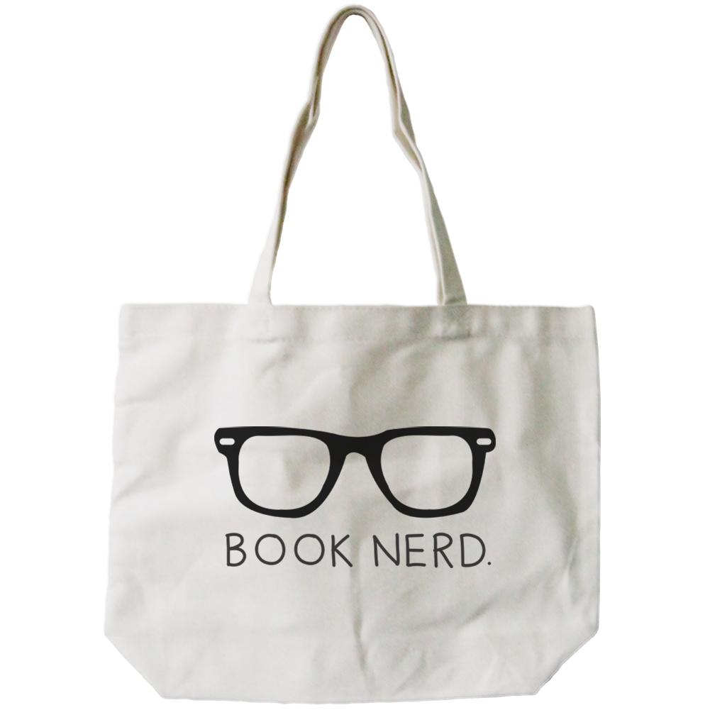 Women s Book Nerd Natural Canvas Tote Bag