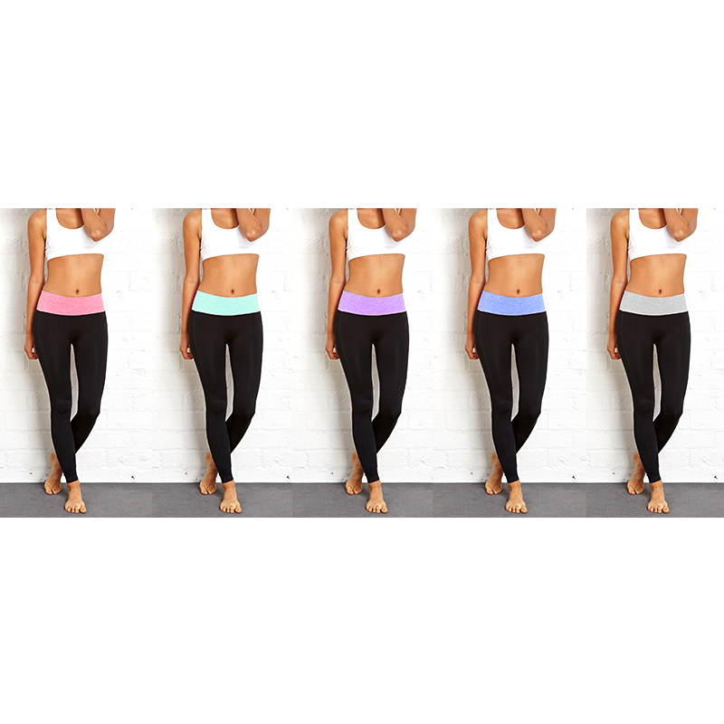 5-Pack of Ladies  Tummy Control Fold-over Space Dye Leggings 2362828