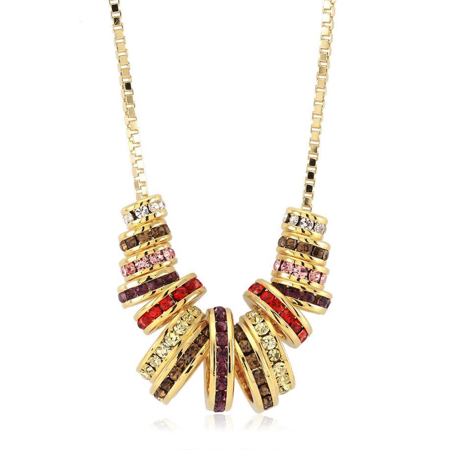 Multi Color Preciosa Crystal Round Statement Necklace
