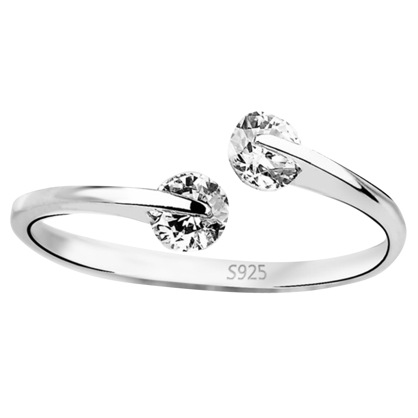 Cubic Zirconia Crystal Bypass Ring