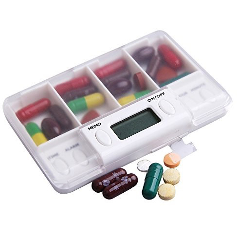 Portable 4 Grid LCD Digital Pill Organizer with Reminder - Watch the V