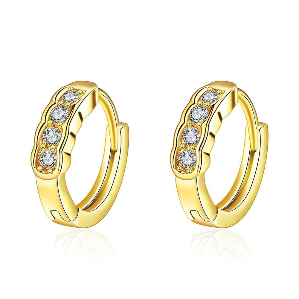 Gold Plated Circular Jewels Mini Hoop Earrings
