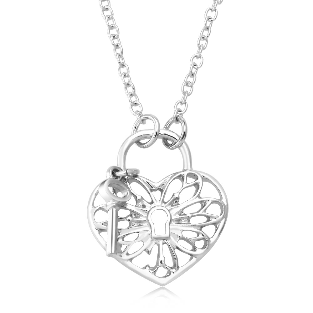 Designer Inspired Heart  amp  Lock Necklace