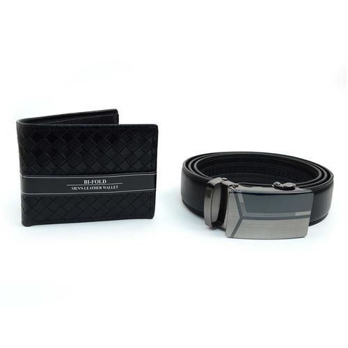 Men s Leather Bi-Fold Wallet  amp  Auto Slide Belt Set
