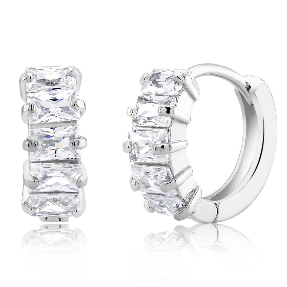 Baguette-Cut Crystal Huggie Earrings