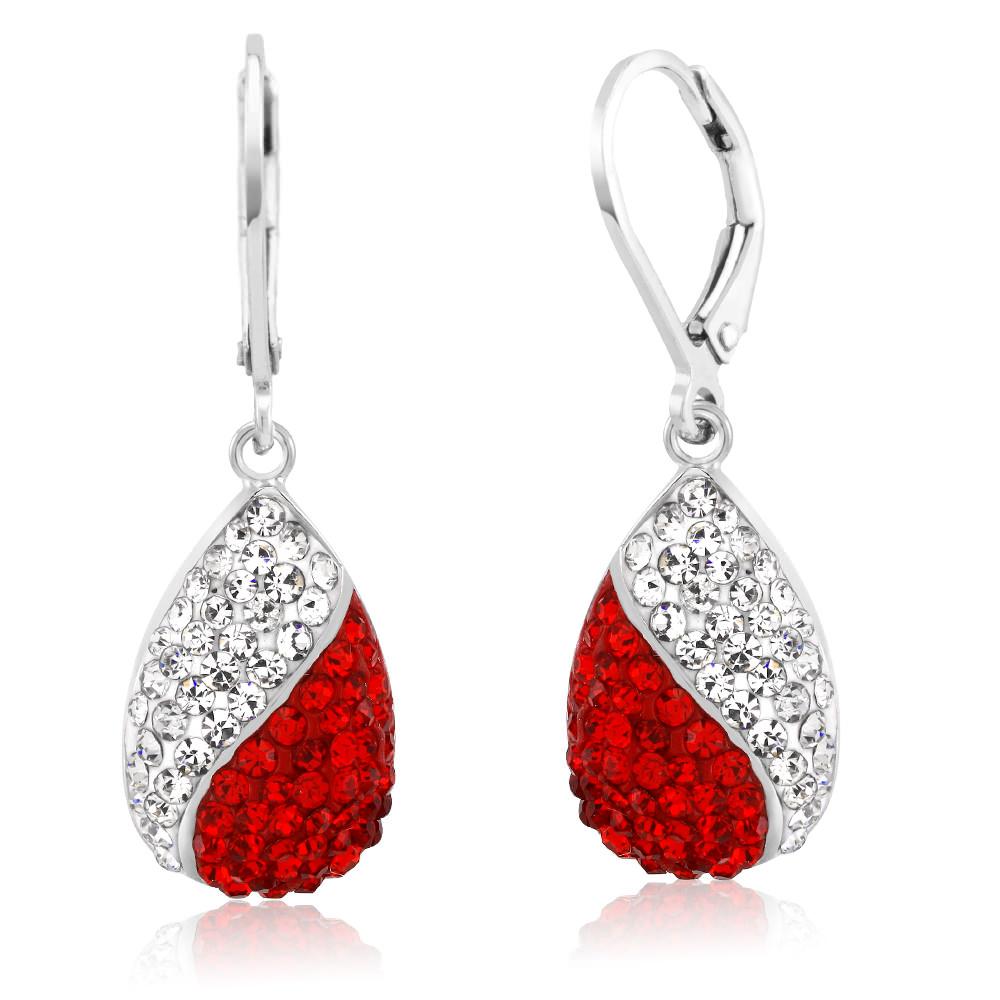 Inspired Swarovski Crystal White and Red TearDrop Fancy Earrings
