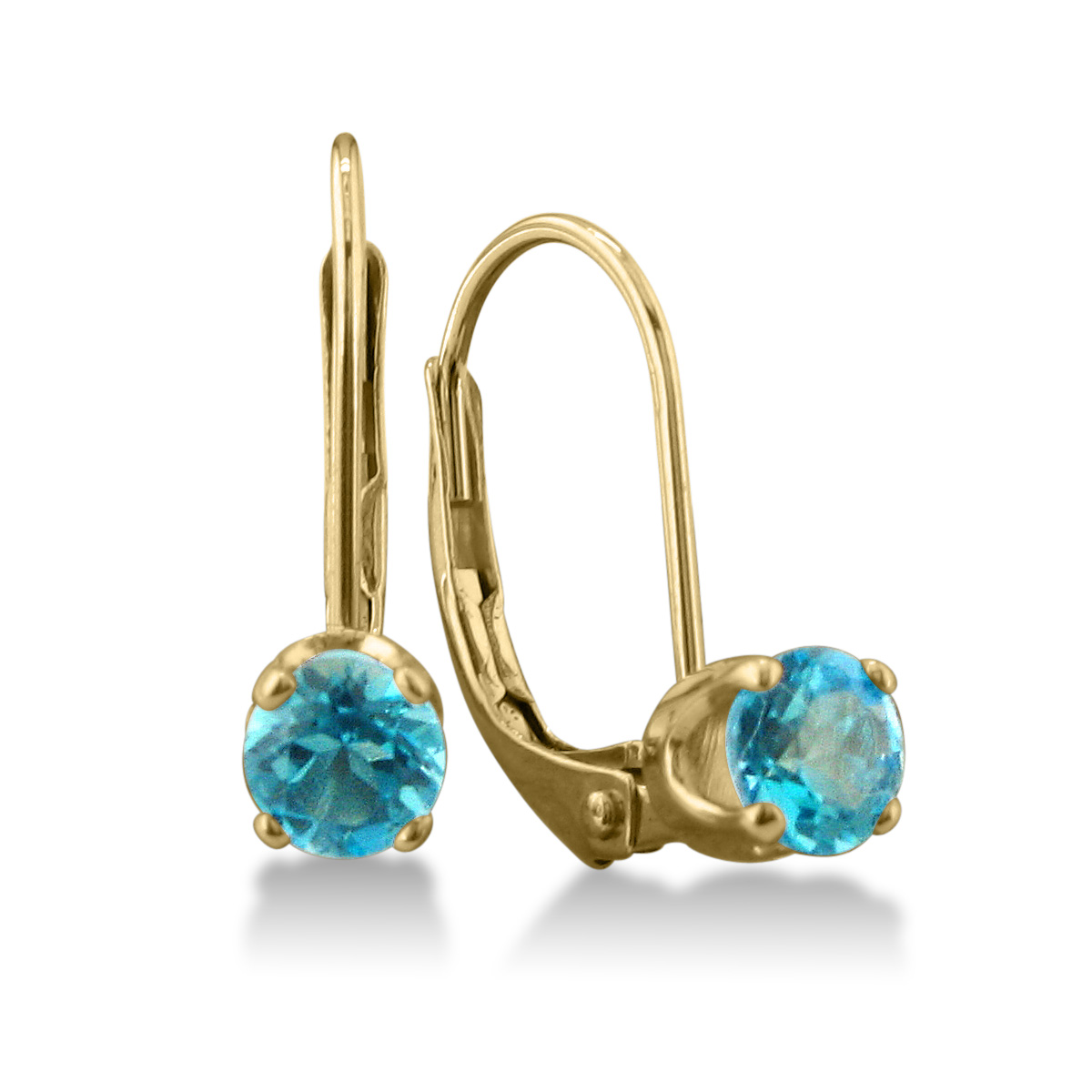 1 2ct Solitaire Blue Topaz Leverback Earrings, 14k Yellow Gold