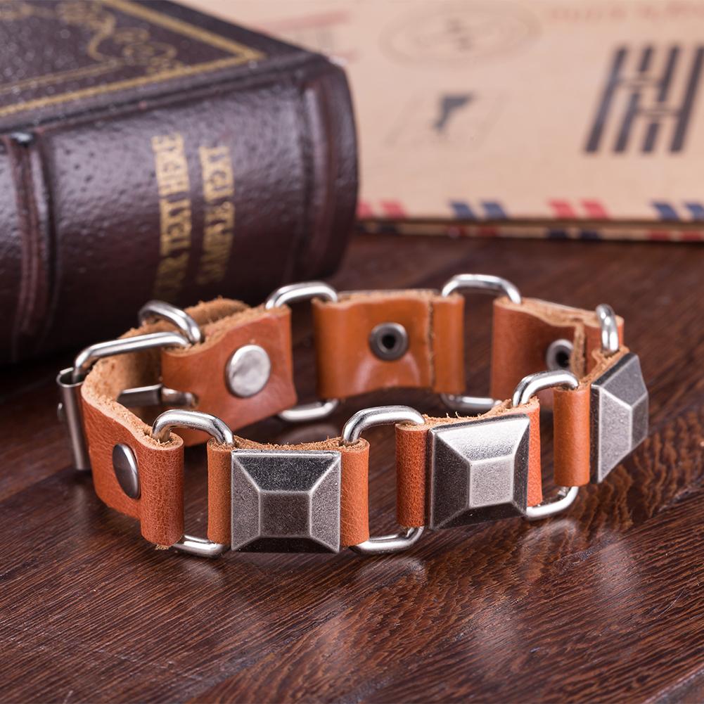 Brown Leather Wrap Metallic Square Bracelet
