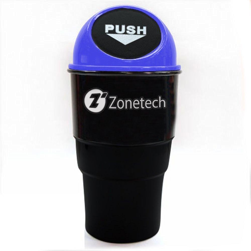 Zone Tech Black Blue Portable Mini Car Garbage Trash Can Holder Litter