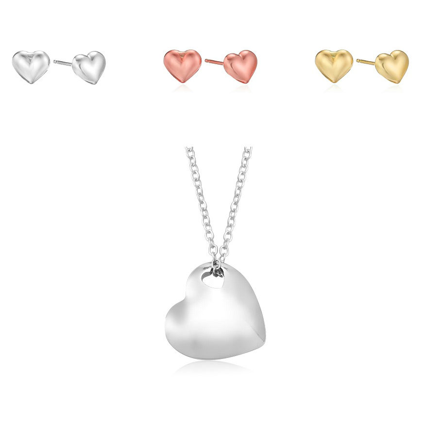 Heart Cutout Pendant Necklace with Heart Earrings - 3 Colors