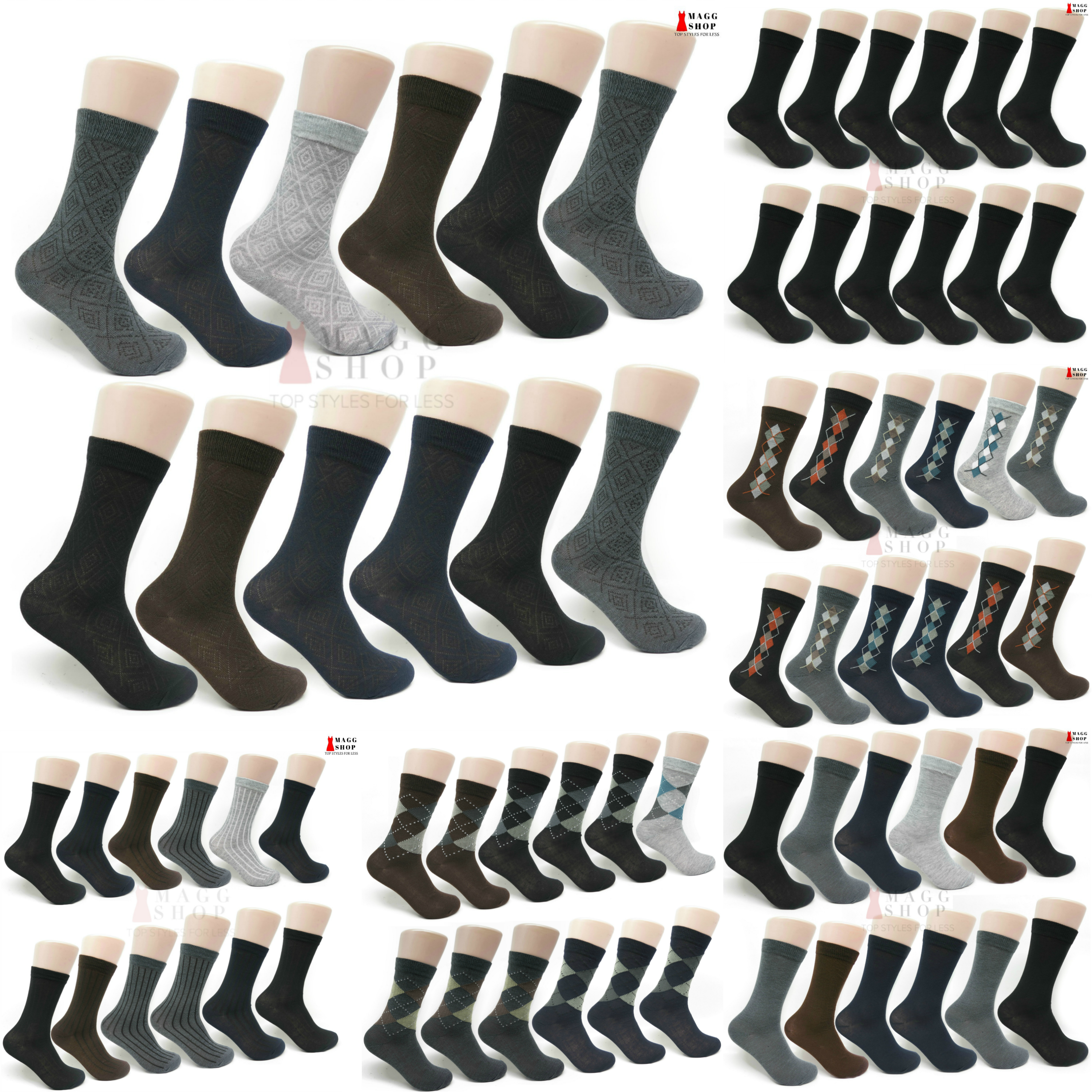 Men s 12-pack Cotton Classic Patterned and Solid Dress Socks