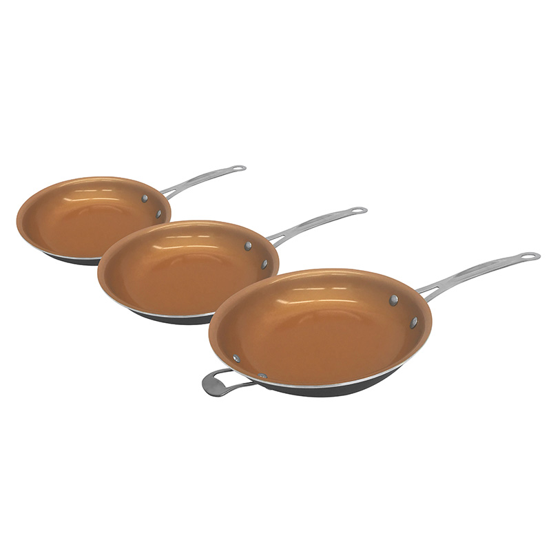 Gotham Steel 3 Piece Frying Pan Set Non Stick Copper Ti