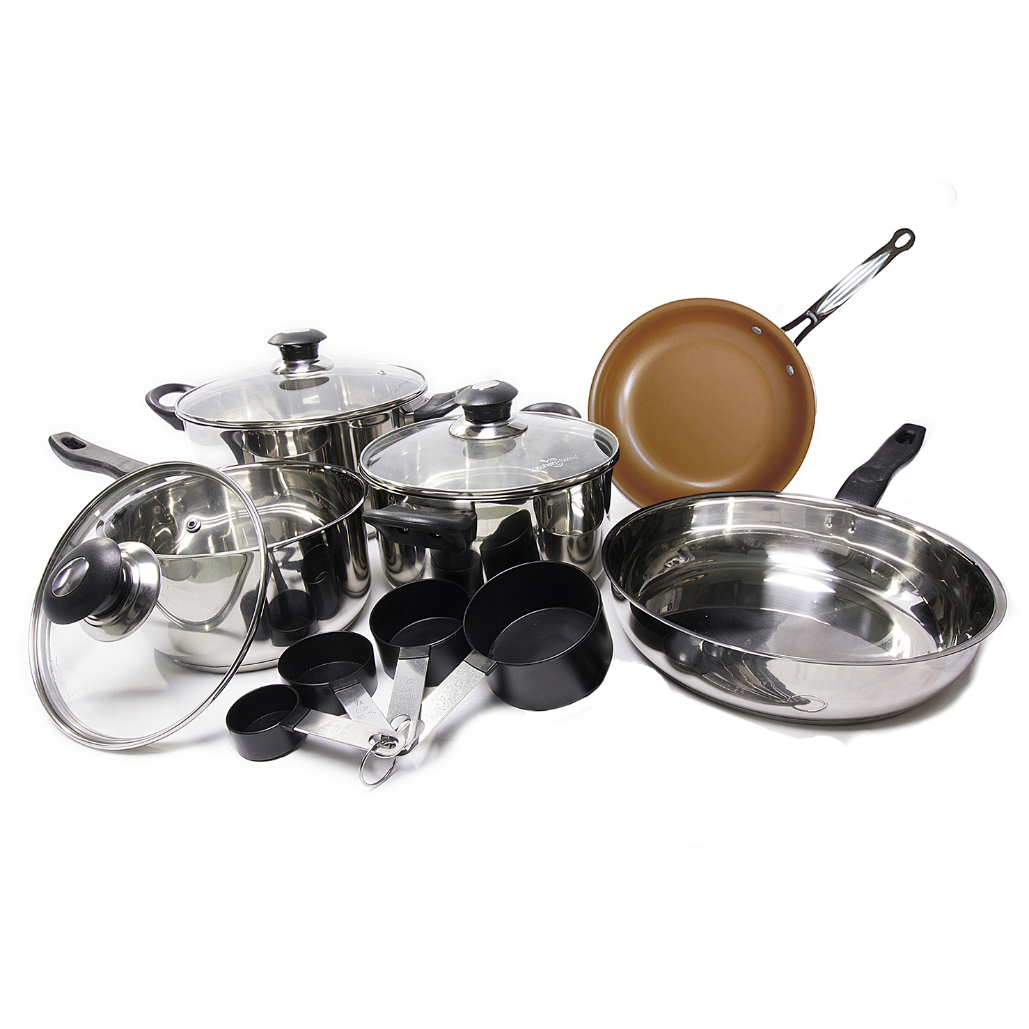11 Piece Stainless Steel Cookware Set with BONUS Copper Pan 6583290