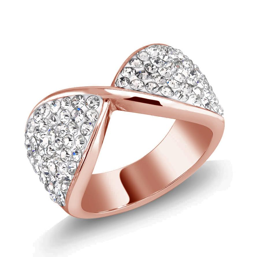Rose Tone Pave Cubic Zirconia Long Life Ring