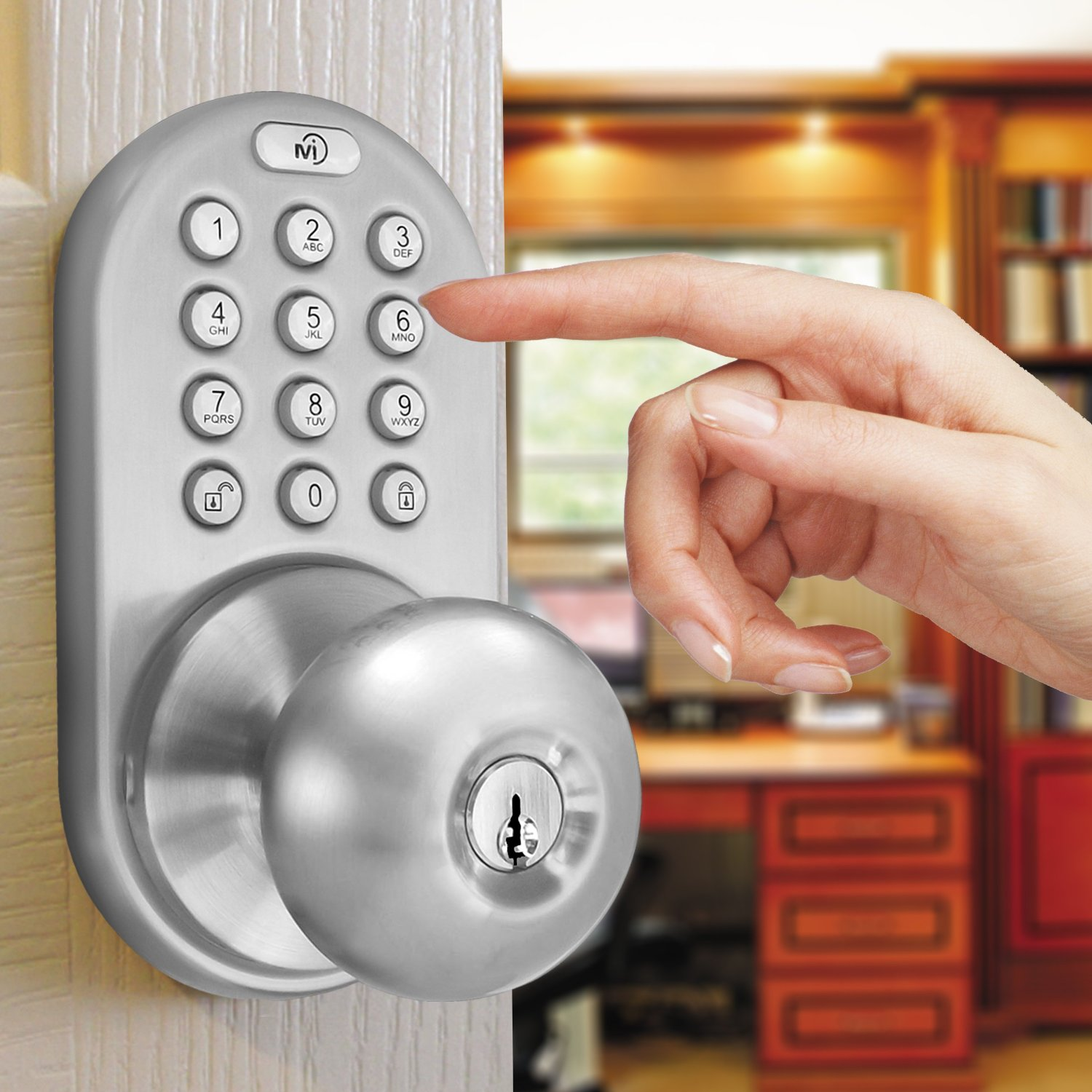 MiLocks DKK-02SN Electronic Keypad & Key Entry Door Knob - Tanga