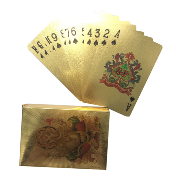 Dice and cards- 24K Gold Plated Ganpati Good Luck Playing Cards