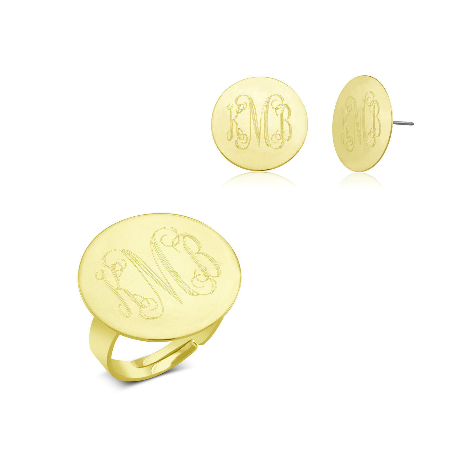 Monogrammed Ring  amp  Earrings Jewelry Set - 3 Colors