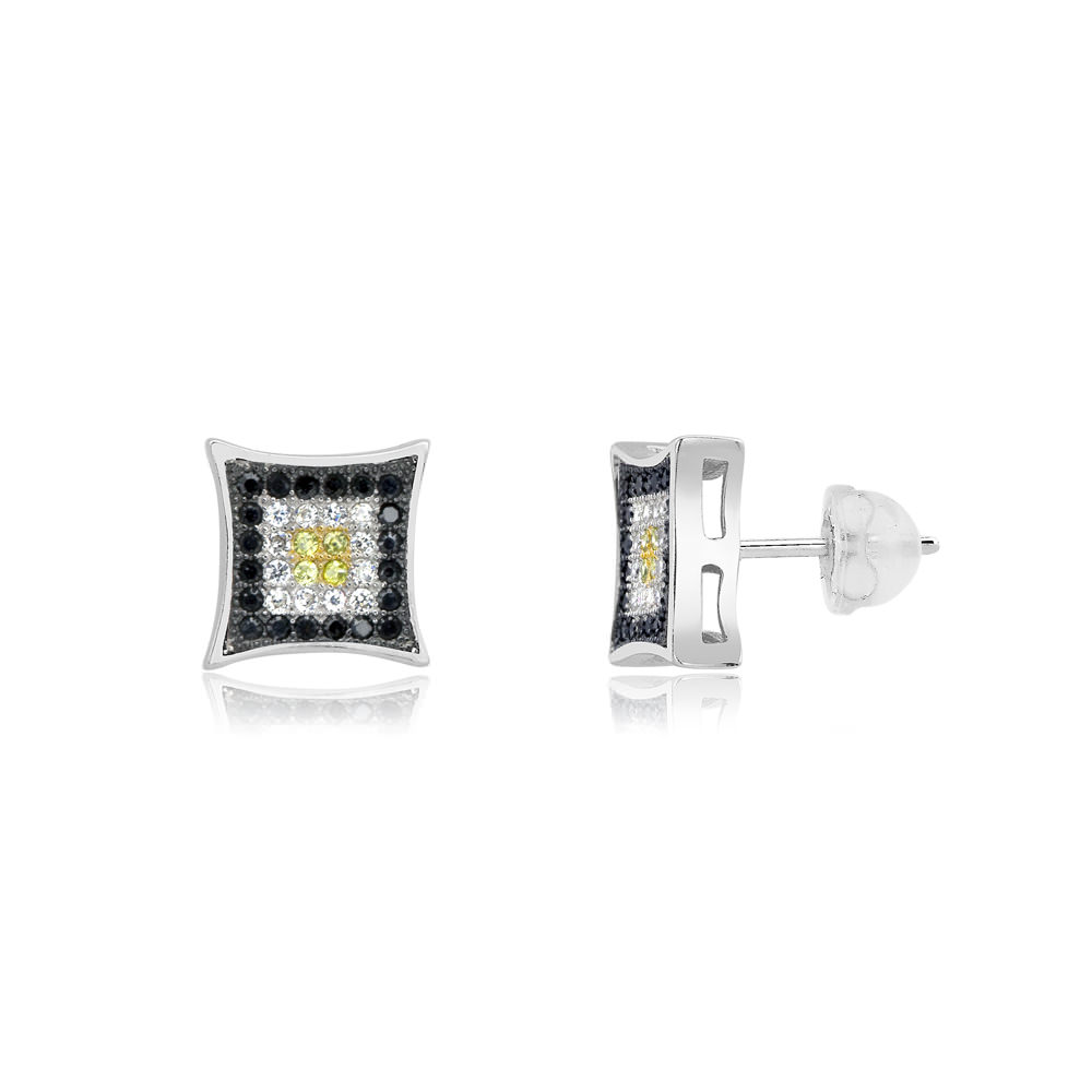 Sterling Silver Black, White  amp  Yellow Micro-Pave Diamond Stud Earrings