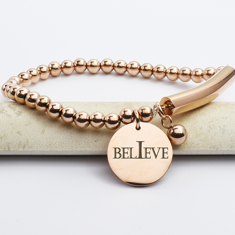 Stainless Steel Believe Bead And Bar Bracelet