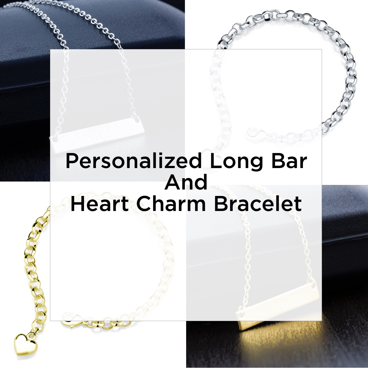 Personalized Long Bar And Heart Charm Bracelet