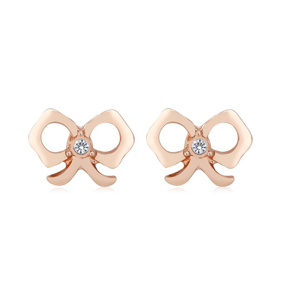 Rose Gold Tone Bow Earrings