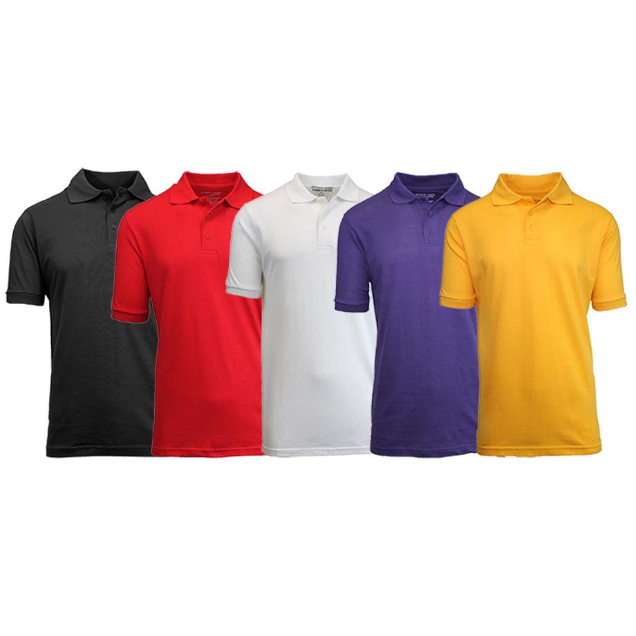 5-Pack Men s Uniform Pique Polo Shirts (S-2X)