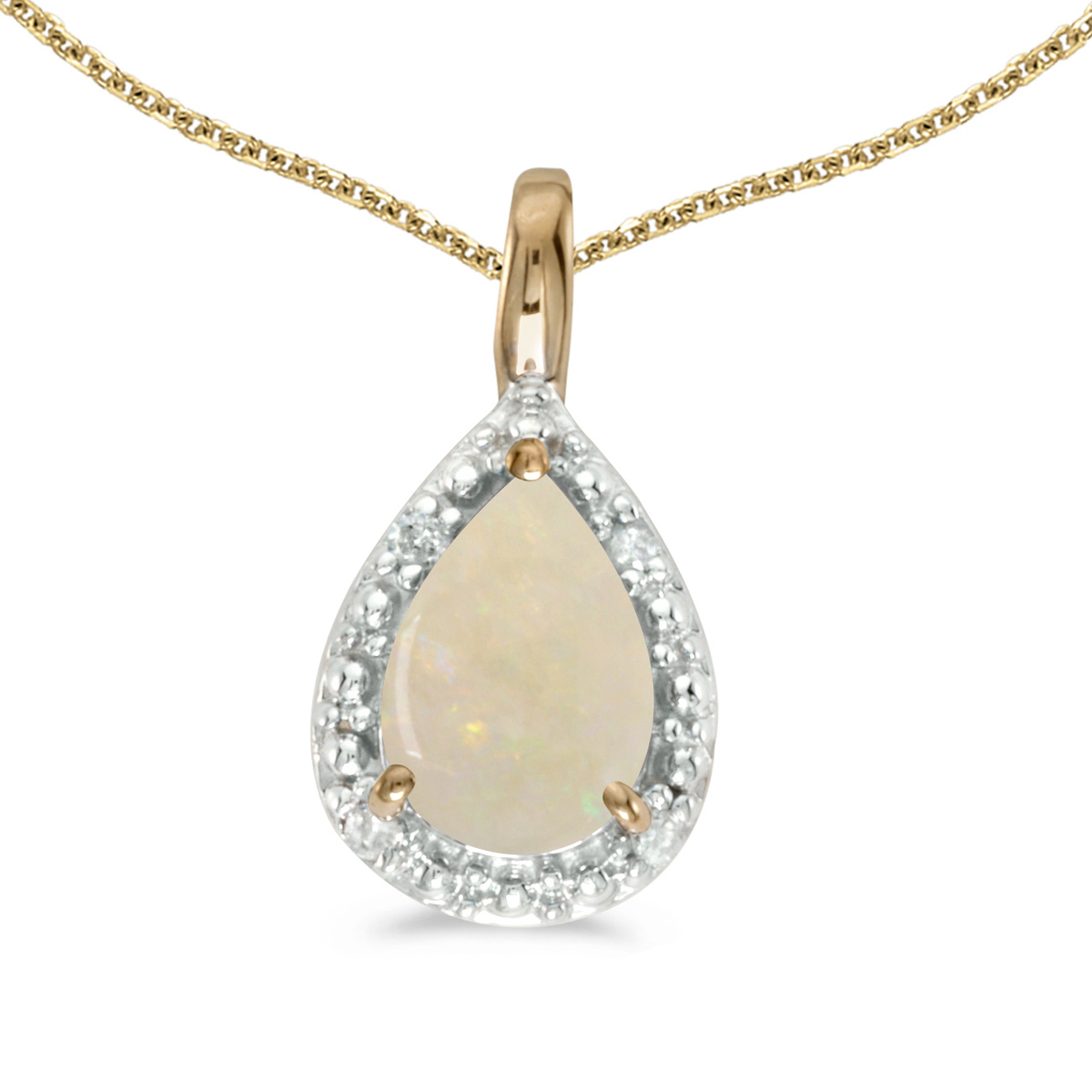 14k Yellow Gold Pear Opal Pendant with 18  Chain