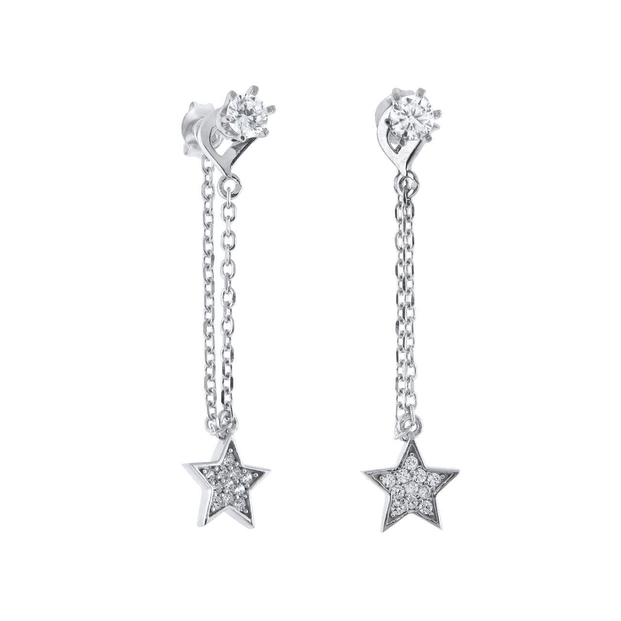 Sterling Silver Pave Stud and Star Chain Earrings