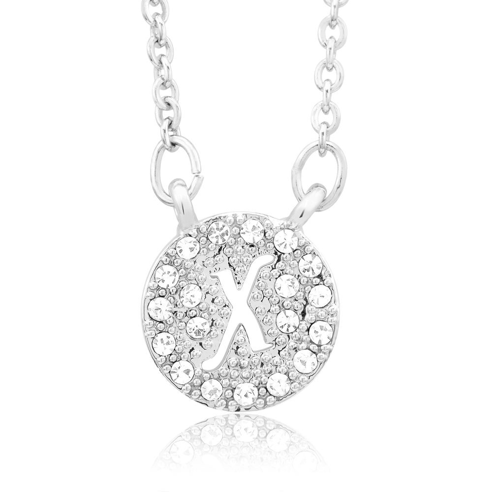 18kt White Gold Plated Swarovski Elements Initial Necklace - X