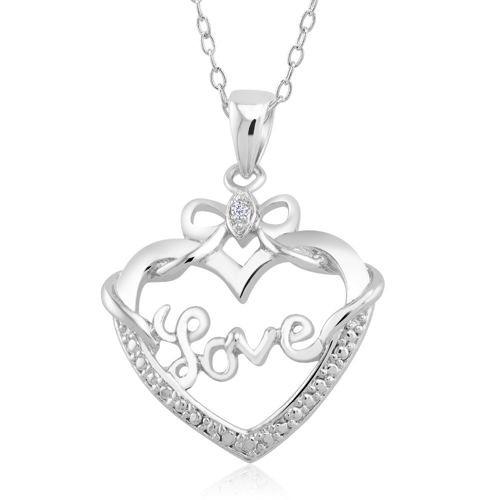1 10 CTW Diamond Accent Necklace - Bow Heart